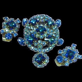 Royal Blue Rivoli Jeweled Rhinestone Figural Turtle  Aurora Borealis Pin Brooch Earrings Set Demi Parure