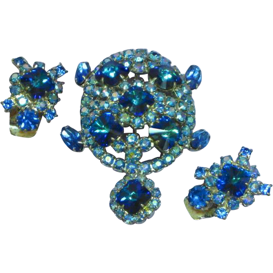 Royal Blue Rivoli Jeweled Rhinestone Figural Turtle  Aurora Borealis Pin Brooch Earrings Set Demi Parure