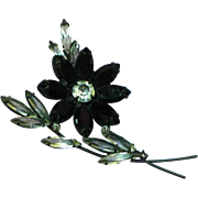 Black Japanned  Navette Marquis Rhinestone Flower Brooch Pin