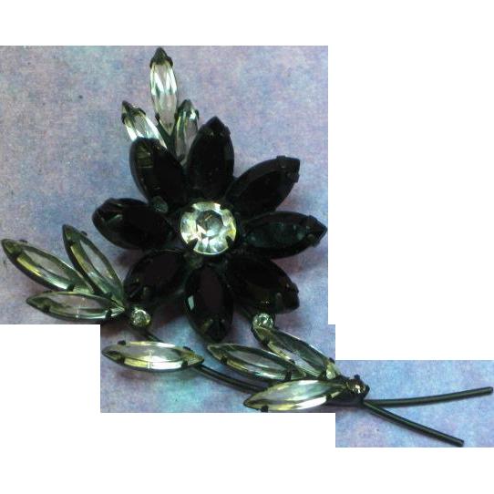Black Japanned  Navette Marquis Rhinestone Flower Brooch Pin