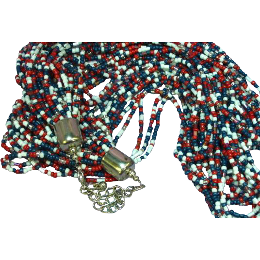 Seed Bead Multi 24 Strand Red White Blue Beaded Necklace
