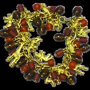 Trifari Safari Animal Amber Beads Goldtone Charm Cha Cha Bracelet Earrings Set Demi Parure