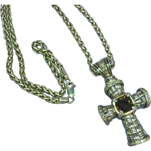 14K Gold Diamond and Sterling Silver Faceted Smoky Quartz Cross Pendant Chain Necklace