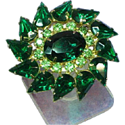 Large Rhinestones Sparkling Vintage Green Glass Pin Brooch