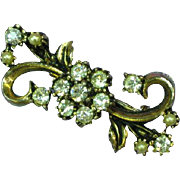 Hollycraft Rhinestones Faux Pearl Pin Brooch