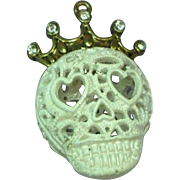 Enamel White Skull Crown Necklace Pendant
