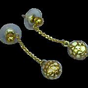 Venetian Pink Enamel Applied Gold Beads Pierced Earrings