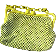Whiting & Davis Vintage Pristine Enamel Mesh Purse, Lucite Closure & Chain