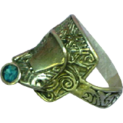 Sterling Silver Turquoise Rompin' Stompin' Western Saddle Ring