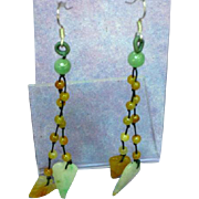 Delicate Double Strand Sterling, Jade & Carnelian Pierced Earrings