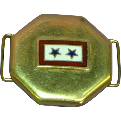 WWII Gold Filled Sons In Service Enamel Military Sweetheart Locket Slide Necklace