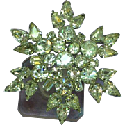 Weiss Signed 3D Snowflake Large Rhinestone Brooch Pin
