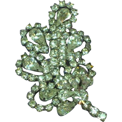Rhinestones Bright Clear Heavy Rhodium Plate Leaf Pin Brooch.