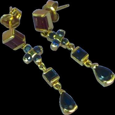 14K Yellow Gold Ruby & Sapphire Link Dangle Pierced Earrings