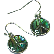 Abalone Silver 925 Peace Sign Dangle Pierced Earrings