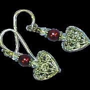 Puffy Heart Floral Pearl Sterling Silver Pierced Drop Dangle Earrings