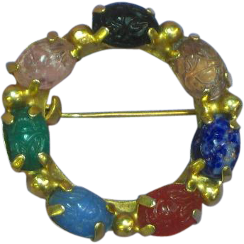 Gold Filled Genuine 7 Stone, Carved and Faceted Scarab Pin Brooch