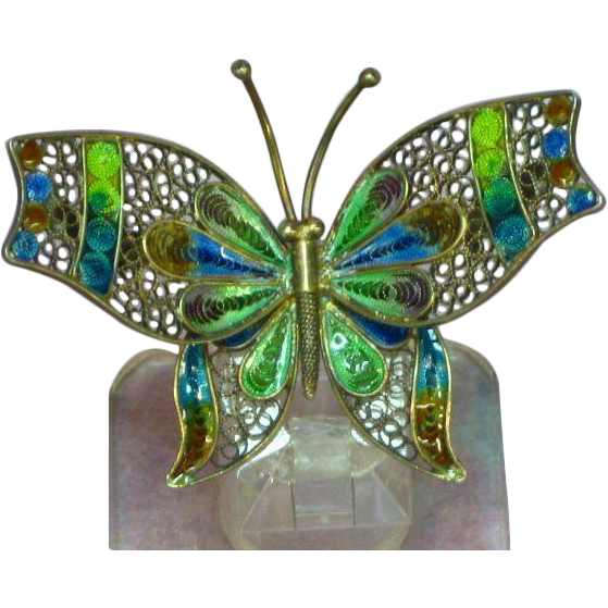 Plique à Jour Enamel Enchanting Butterfly Pin, 800 Silver