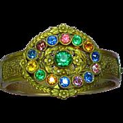 Fabulous Victorian Revival Brass Gemstone Color Glass Rhinestones Kaleidoscope Bangle Bracelet