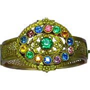 Fabulous Victorian Revival Brass Gemstone Color Glass Rhinestones Kaleidoscope Bangle Bracelet