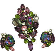 D&E DeLizza& Elster Rare Purple Pink Watermelon Rhinestone Pin, Brooch,and Earrings Set, Demi Parure