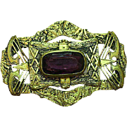 Enchanting Brass Gold Wash Buckle Sash Pin Brooch With Large Amethyst Stone