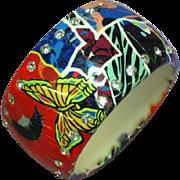 Stunning Wide Rhinestone Lucite Vintage Bright Bangle  Bracelet