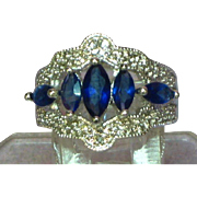 Sapphires Rhodium Plate Sterling Silver Cocktail Dinner Ring