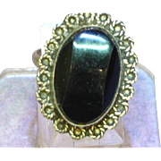 Mexican Mexico Carved Polished Shimmer Obsidian Sterling Silver Ring