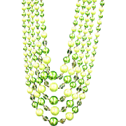 Japan Beaded Lime Green Crystal 5 Strand Necklace