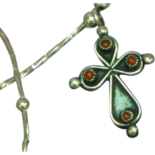 Native American Liquid Silver Turquoise Coral Gemstone Cross Sterling Silver Necklace