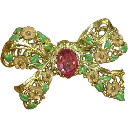 Enamel Large Radiant Rhinestone Floral Bow Shape Brooch,Pin