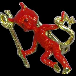Rare Gold-Tone Red Enamel Female Figural Devil Pin Brooch