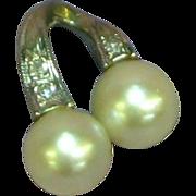 Vintage 14k White Gold Cultured Pearl & Diamond Dangle Necklace Slide
