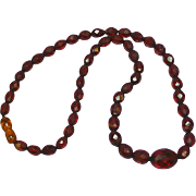 Faceted Natural Cherry Amber Graduated Bead Necklace