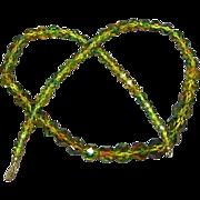 Rare Art Deco Era Cut Faceted  Bi-Color Crystal Beaded Necklace