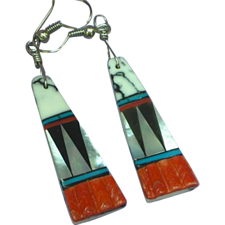 Native American Zuni Spiny Oyster White Buffalo Turquoise Multi Stone Inlay Dangling Pierced Earrings