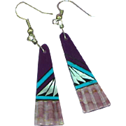 Native American Zuni Purple Spiny Oyster Turquoise Multi Gemstone Stone Inlay Dangling Pierced Earrings