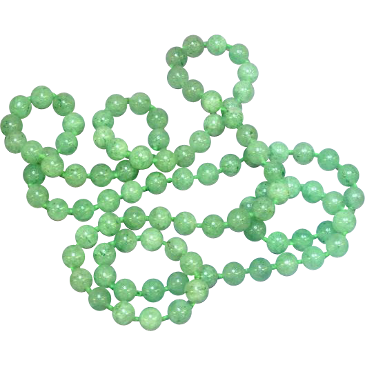 RARE Vintage Moss in Snow Jadeite Jade Bead Endless Necklace