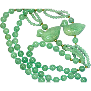 RARE Vintage 14K  Moss in Snow Jadeite Jade Bead Carved Ducks Endless Necklace