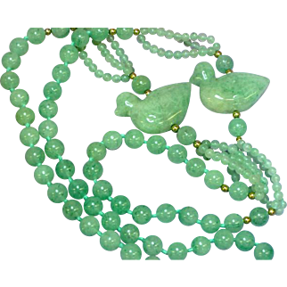 RARE Vintage 14K  Moss in Snow Jadeite Jade Bead Carved Ducks Endless Necklace