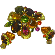 Rhinestones Large Multicolor Faceted Cabochons Heart Art Glass Prong Set Domed Designer Brooch Pin Earrings Set Demi Parure