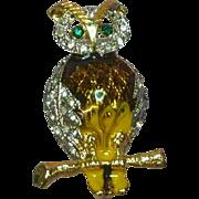 Enamel Sparkling Pavé Rhinestones Phenomenal Figural Owl Pin Brooch