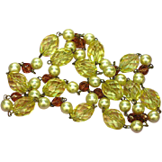 Crystal Glass Beads Luscious,Lemon Drop, Yellow Necklace