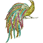 Mazer Brothers Marked Exotic !Rare! Peacock Pavé Rhinestones Brooch Pin