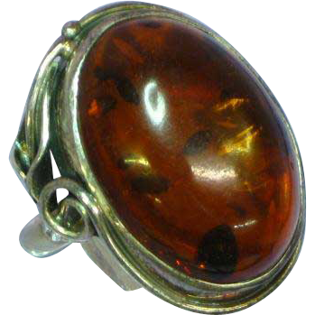 Genuine Russian Baltic Amber Sterling Silver Large Signed Ring