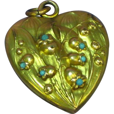 Antique Victorian Gold Fill Heart Double Locket with Tiny Turquoise Stones Necklace Pendant