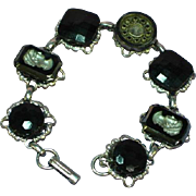 Wonderful Vintage Black Glass Intaglio Button Bracelet