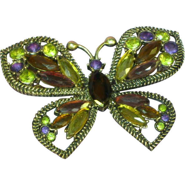Rhinestones Large Butterfly Figural Pin Brooch