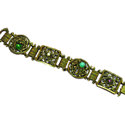 Fantastic Art Deco Czech Glass Egyptian Revival Filigree Heavy Gold Gilt Bracelet